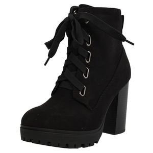 Black Faux Suede Lace Up Stacked Block Boot